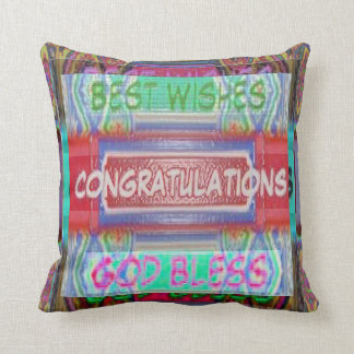 Text - Congratulations Best Wishes Throw Pillow