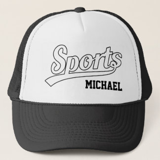 Text Design: SPORTS white + your own name & ideas Trucker Hat