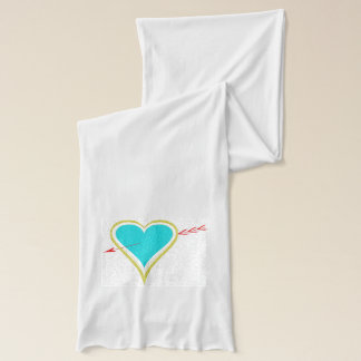 Text. Heart & Arrow-Gold-Wht Scarf