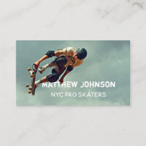 Text Integrated Skateboard Photo Business Card