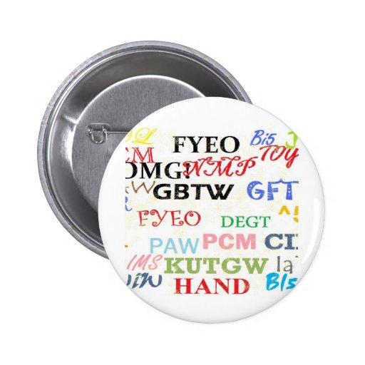 Text Lingo Abbreviations Pinback Button