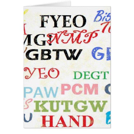 Text Lingo Abbreviations Card