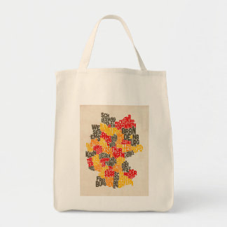 Text Map of Germany Map Tote Bag