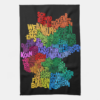 Text Map of Germany Map Towel