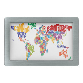 Text Map of the World Belt Buckle