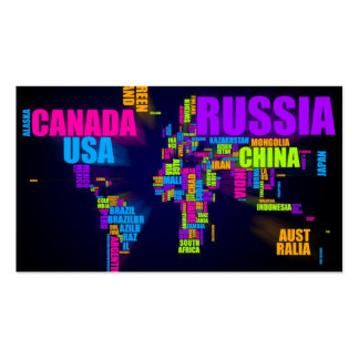 Text Map of the World Business Card
