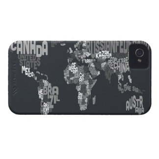 Text Map of the World iPhone 4 Case