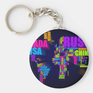 Text Map of the World Keychain