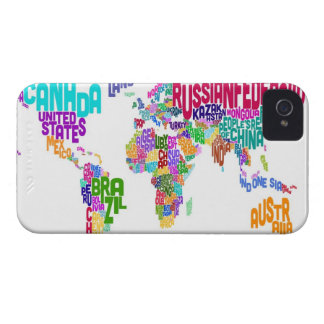 Text Map of the World Map iPhone 4 Cases