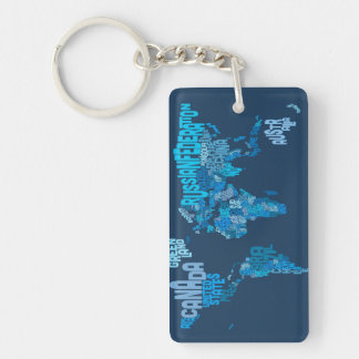 Text Map of the World Map Keychain