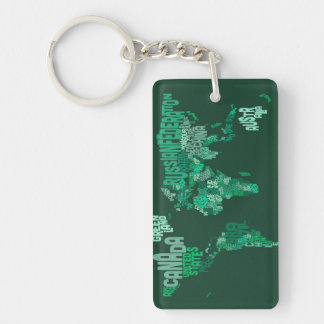 Text Map of the World Map Key Chain