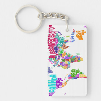 Text Map of the World Map Keychains