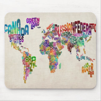 Text Map of the World Mouse Mat