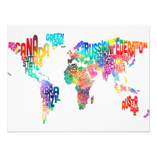 Text Map of the World Photo Print