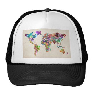Text Map of the World Trucker Hat