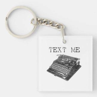 Text Me Antique Typewriter illustration Double-Sided Square Acrylic Keychain