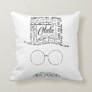Text Mustache man top hat, glasses French quotes Throw Pillow