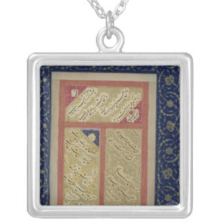 Text of a poem from an album square pendant necklace