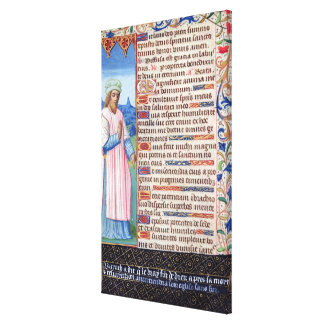 Text of the Magnificat with a portrait of Canvas Print