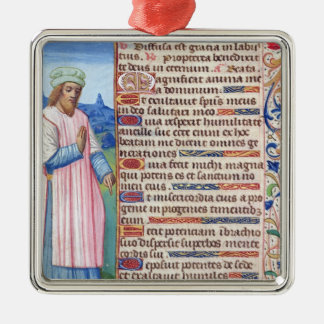 Text of the Magnificat with a portrait of Metal Ornament