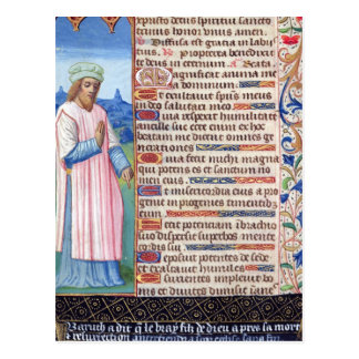 Text of the Magnificat with a portrait of Postcards