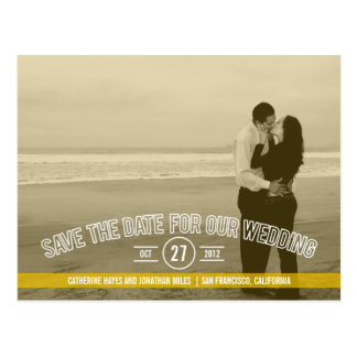 Text Overlay Save The Date Cards - Mustard Post Card