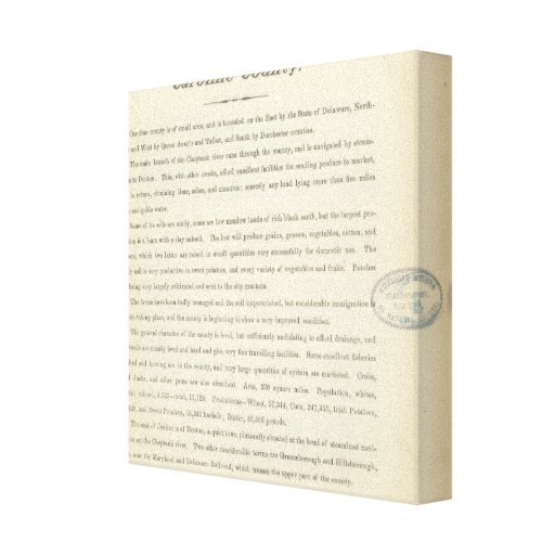 Text Page Caroline County Canvas Prints
