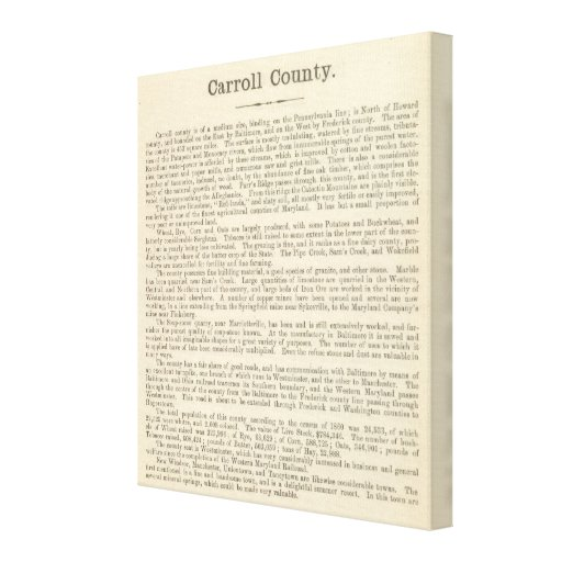 Text Page Carroll County Canvas Prints