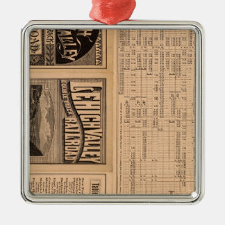 Text Page of Lehigh Valley Railroad Square Metal Christmas Ornament