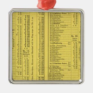 Text Page Pittsburgh and Western Railway Company Square Metal Christmas Ornament