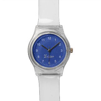 Text Template - Blue Knit Stockinette Stitch Watch