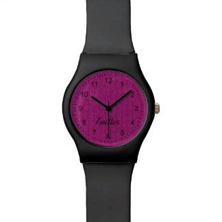 Text Template - Fuchsia Knit Stockinette Stitch Watch