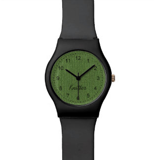 Text Template - Green Knit Stockinette Stitch Wristwatches