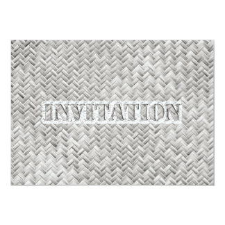 Text Template, Silver Gray Basket Weave Pattern Card