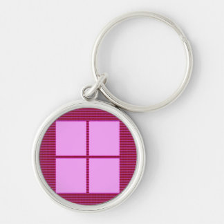 TEXT your SQUARES Template Silver-Colored Round Keychain