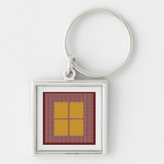 TEXT your SQUARES Template Silver-Colored Square Keychain