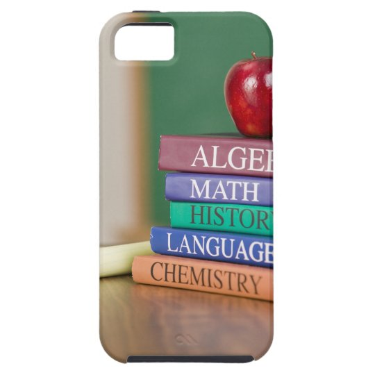 Textbooks and an apple 2 iPhone SE/5/5s case