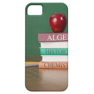 Textbooks and an apple iPhone SE/5/5s case