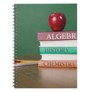 Textbooks and an apple spiral notebook