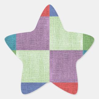 Textile coarse colorful squares star sticker