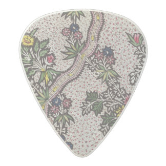 Textile design of plant forms and serpentine ribbo acetal guitar pick