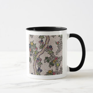 Textile design of plant forms and serpentine ribbo mug