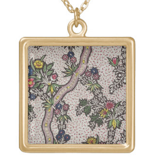 Textile design of plant forms and serpentine ribbo jewelry