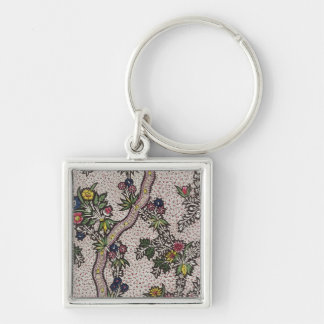 Textile design of plant forms and serpentine ribbo Silver-Colored square keychain