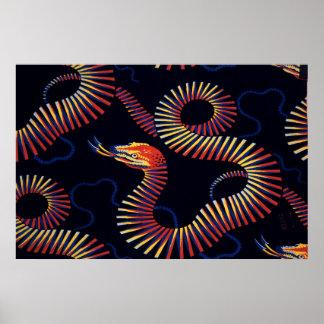 Textile design (snakes), Christopher Dresser Poster