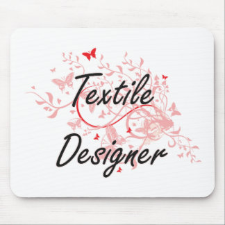 Textile Designer Artistic Job Design with Butterfl Mouse Pad