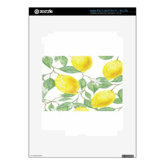 Textile Fabric Leaf Green Yellow Lemon Fruit Skin For iPad 3