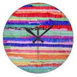 textile leftovers handmade pattern stripes colorfu large clock