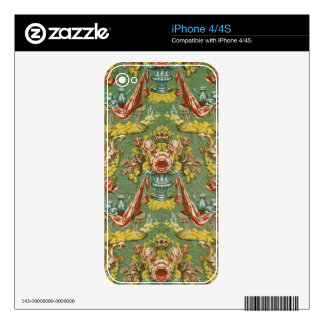 Textile with a repeating floral motif decals for the iPhone 4S