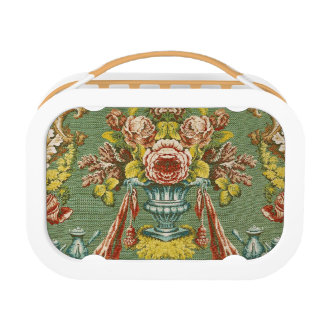 Textile with a repeating floral motif lunch box